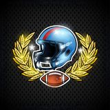 Blue american football helmets with ball in center of golden laurel wreath. Sport logo for any team. Or competition royalty free illustration