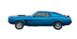 Blue American Muscle Car. Blue classic American Muscle Car with black stripes Royalty Free Stock Photo