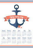 Blue anchor on the calendar in 2016. Calendar for 2016 with ribbon and anchor. Enjoy every day stock illustration