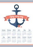 Blue anchor on the calendar in 2016. Calendar for 2016 with ribbon and anchor. Enjoy every day. Week starts on Sunday Royalty Free Stock Photos