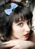 Blue Anchor Hair Bow Royalty Free Stock Photography