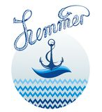 Blue anchor icon.Summer card Royalty Free Stock Images