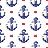 Blue Anchors Seamless Pattern Royalty Free Stock Images
