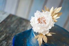 Blue And Gold Wedding Cake Stock Photo