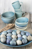 Blue And Gray Easter Eggs Royalty Free Stock Photography