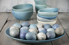 Blue And Gray Easter Eggs Royalty Free Stock Images