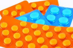 Blue And Orange Tablets Stock Images