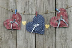 Free Blue And Pink Hearts Hanging On Clothesline Stock Image - 36643951