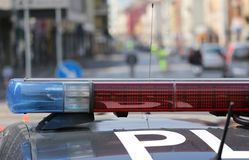 Blue And Red Flashing Sirens Of Police Car During The Roadblock Royalty Free Stock Photo