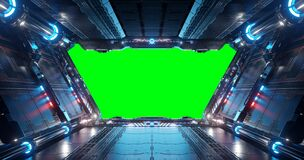 Free Blue And Red Futuristic Spaceship Interior With Green Window 3d Rendering Royalty Free Stock Image - 178151106