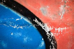 Blue And Red Sprayed Concrete Block Stock Images