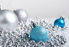 Blue And Silver Christmas Decorations Stock Photo