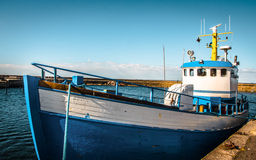 Free Blue And White Fishing Boat Docked - Sweden Royalty Free Stock Photos - 72661728