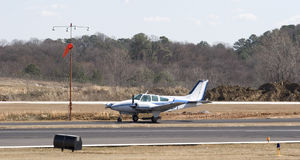 Blue And White Prop Plane Royalty Free Stock Photos