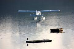 Blue And White Seaplane Stock Photo