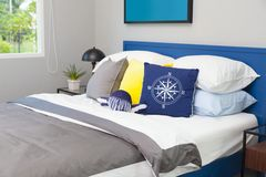 Free Blue And Yellow Pillow On Teen`s Bedroom Royalty Free Stock Images - 148296019