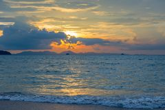 Blue Andaman Sea, beautiful clouds and orange sky. During sunset stock images