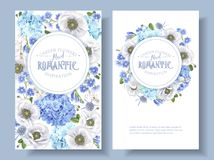 Blue anemone round banners. Vector botanical banners with blue flowers isolated on white background. Floral design for natural cosmetics, perfume, women products Stock Photography