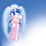 Blue angel. Gently glowing blue angel on a blue background with candles Royalty Free Stock Photos