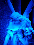 Blue angel. A statue of an angel in blue royalty free stock photography