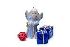 Blue angel and gift boxes Royalty Free Stock Photography