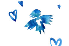 Blue angel of love with heart Stock Image