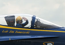 Blue Angel Pilot Salutes Crowd Royalty Free Stock Photography