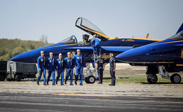 Blue Angel Pilots. Approaching their planes to fly Royalty Free Stock Photos