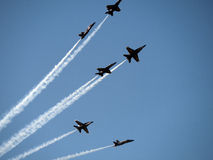 Blue Angel Planes flying above San Francisco sky Stock Photos