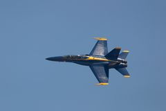 Blue Angel Solo- Banking. Top View Royalty Free Stock Photos