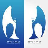 Blue angel - vector logo concept illustration Royalty Free Stock Image