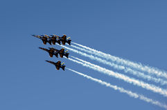 Blue Angeles In Formation Royalty Free Stock Photography