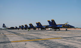 Blue Angels aerobatic team on a tarmac royalty free stock images