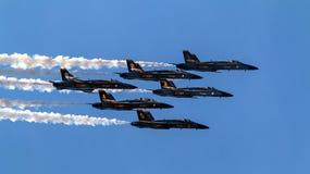Blue Angels Close Flying Over Seattle Washington Stock Photo