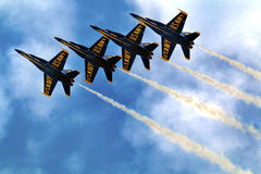 Blue Angels Close Up and In Formation Seattle Washington Royalty Free Stock Images
