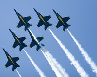 Blue Angels Delta Formation. At the top of a loop Stock Photography
