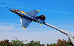 Blue Angels Display. A retired Blue Angels jet aircraft on display at a rest area on highway I-10 in Florida.  Photo taken on May 26, 2013 Royalty Free Stock Photography