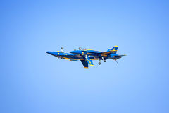 Blue Angels In Flight. A shot of the Blue Angels, one inverted, and one flying right Stock Photo