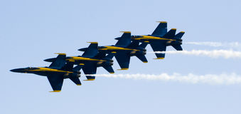 Blue Angels fly in formation royalty free stock photography