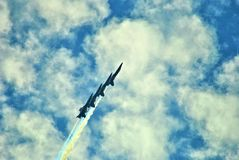 Blue Angels. Flying through the clouds Stock Image