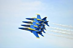 Blue Angels. Flying through the clouds Stock Photography