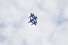 Blue Angels. Flying diamond formation Royalty Free Stock Images