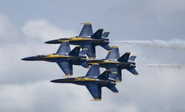 The Blue Angels flying in diamond formation. At the Joint Base Andrews airshow in Maryland royalty free stock photo