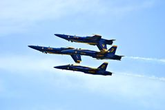 Blue Angels. Flying diamond formation upside down Stock Image
