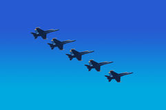 Blue Angels Flying in Unison Stock Images
