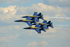 Blue Angels at Great New England Air Show. United States Navy Blue Angels Aerobatic flight demonstration team F/A-18 Hornet perform diamond formation at Great Stock Photos