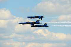 Blue Angels at Great New England Air Show. United States Navy Blue Angels Aerobatic flight demonstration team F/A-18 Hornet perform double farvel formation at Royalty Free Stock Photography