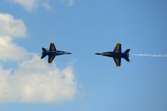 Blue Angels at Great New England Air Show. United States Navy Blue Angels Aerobatic flight demonstration team F/A-18 Hornet perform knife-edge pass at Great New Stock Photo