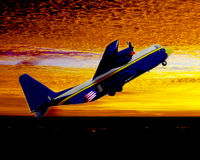 Blue Angels J.A.T.O. C130. An illustration of a military cargo plane (C-130) using jet assisted takeoff (JATO) as it climbs into a sunset of yellow and gold Royalty Free Stock Image