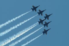The Blue Angels jet squadron f. Ly in formation Royalty Free Stock Photography